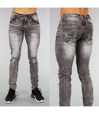 Grijze Ripped Slim Fit Heren Jeans met Wassing