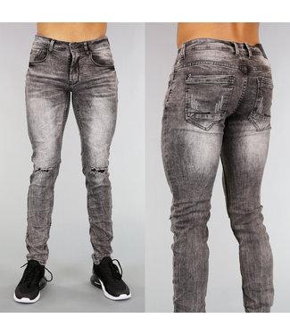 !OP=OP Grijze Ripped Slim Fit Heren Jeans met Wassing