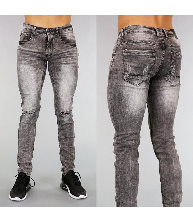 Grijze Ripped Slim Fit Heren Jeans met Wassing