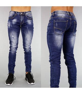 !OP=OP Blauwe Ripped Slim Fit Heren Jeans met Wassing