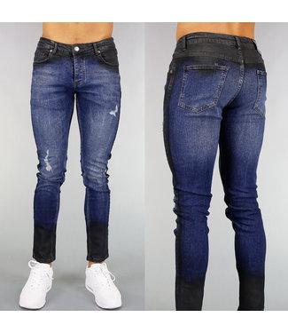 Donkerblauwe Heren Jeans met Zwarte Wassing