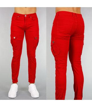 !OP=OP Rode Heren Spijkerbroek met Ribbels