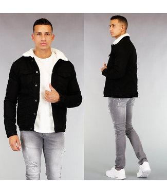 HOT Zwarte Gevoerde Heren Denim Jacket