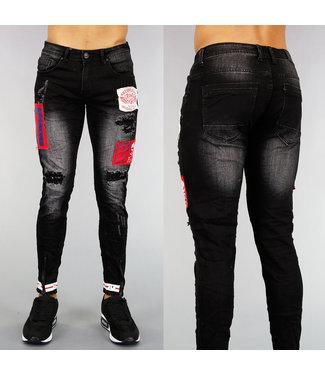 !OP=OP Zwarte Heren Skinny Jeans met Patches en Ritsen