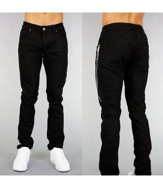 !OP=OP Zwarte Heren Spijkerbroek met Metallic Streep