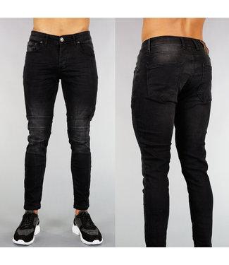 !OP=OP Zwarte Heren Spijkerbroek met Ribbel Detail