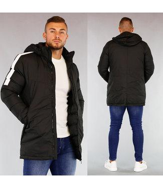 !OP=OP Zwarte Heren Winterjas met Witte Strepen