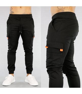 NEW! Zwarte Heren Cargo Broek met Oranje Details