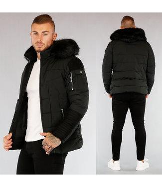 HOT Zwarte Heren Winterjas met Zwart Bont