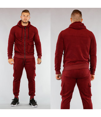 Heren Fleece Huispak met Vest Bordeaux