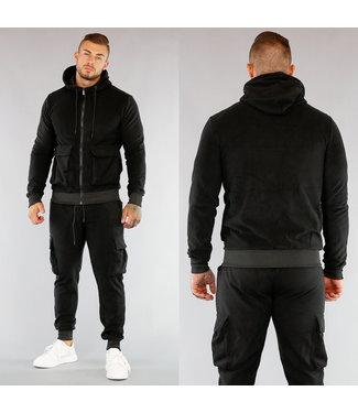 Heren Fleece Huispak met Vest Zwart
