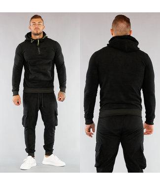 Zwart Heren Fleece Huispak met Buidelzak en Neon Details