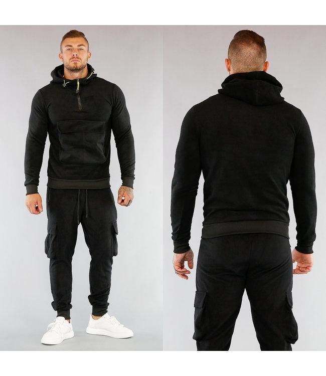 HOT Zwart Heren Fleece Huispak met Buidelzak en Neon Details