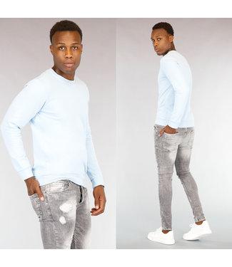 Lichtblauwe Katoenen Heren Sweater