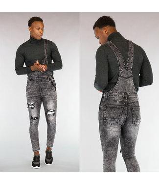 !OP=OP Grijze Heren Jeans Tuinbroek met Wassing