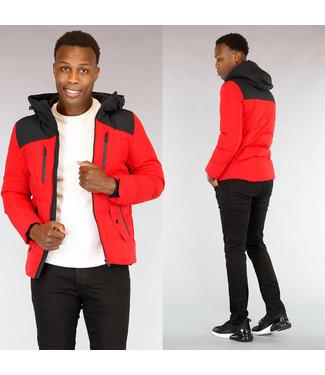 Rode Heren Winterjas met Zwarte Capuchon