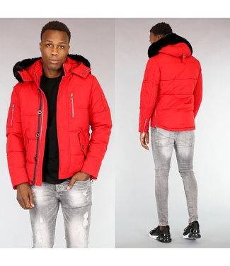 Getailleerde Rode Heren Winterjas met Bont
