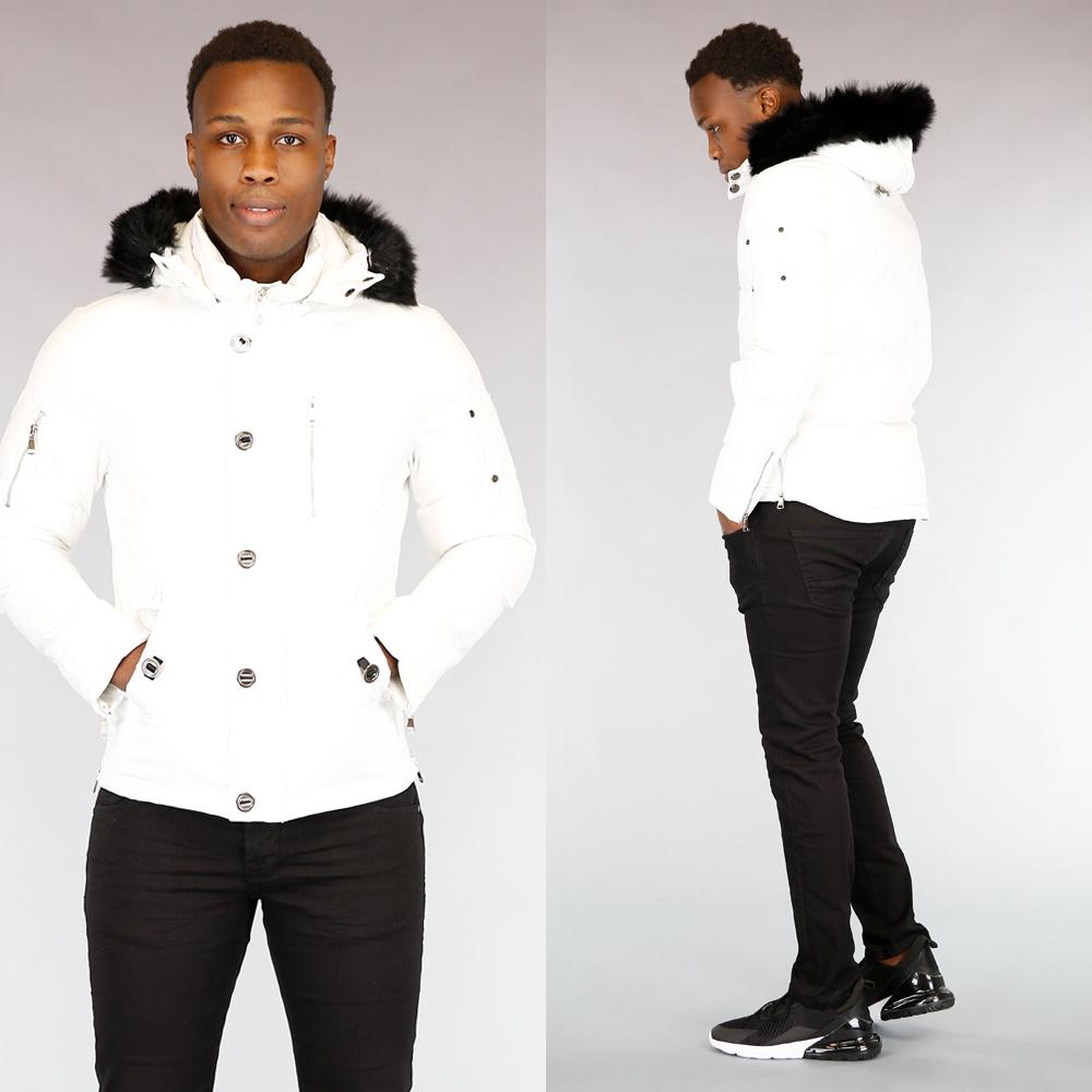 Getailleerde Witte Heren Winterjas met Bont