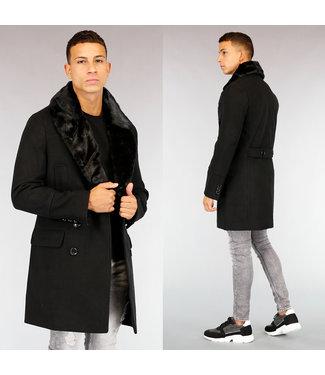 !OP=OP Zwarte Heren Mantel met Imitatiebont