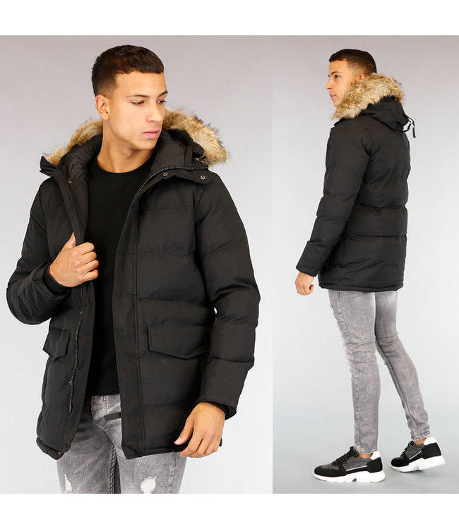 Zwarte Halflange Heren Winterjas met Bont