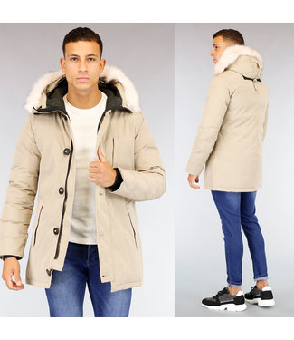 HOT Basic Beige Heren Winterjas met Bontkraag
