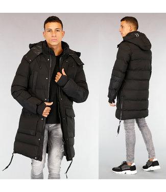 Zwarte Gewatteerde Lange Heren Winterjas
