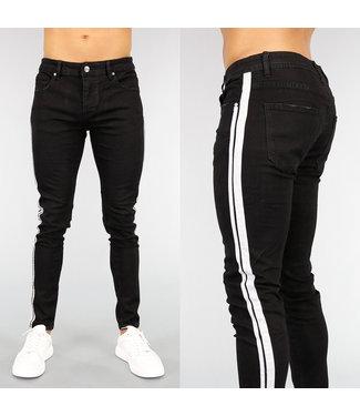NEW! Zwarte Heren Slim Fit Jeans met Witte Streep