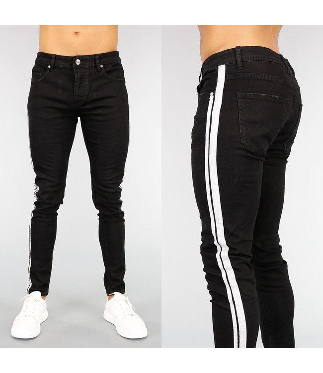 Zwarte Heren Slim Fit Jeans met Witte Streep