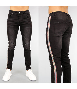NEW! Zwarte Slim Fit Heren Jeans met Bies