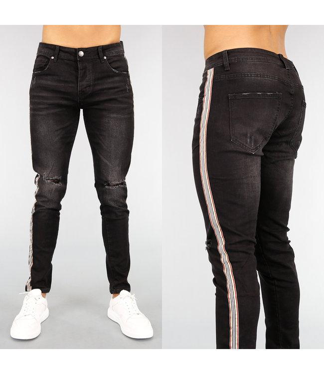 Zwarte Slim Fit Heren Jeans met Bies