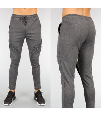 Antraciet Heren Joggingbroek met Ritsen