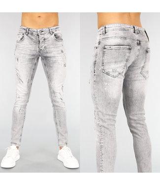 Grijze Aansluitende Heren Jeans met Krassen en Lichte Wassing