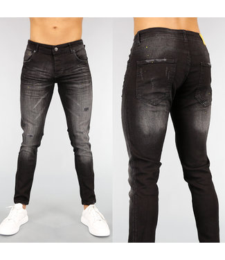 NEW! Zwarte Slim Fit Heren Jeans met Wassing