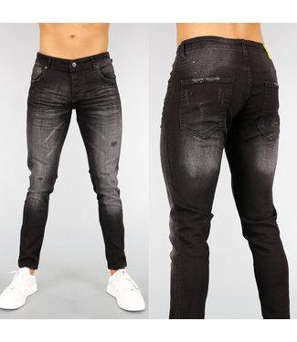 Rode Heren Jeans Met Kniescheuren Black Leo.nl