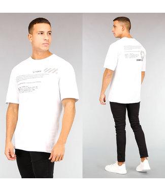 Wit Oversized Heren T-Shirt met Zwarte Tekst
