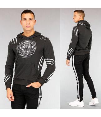 Zwarte Tiger Heren Hoodie