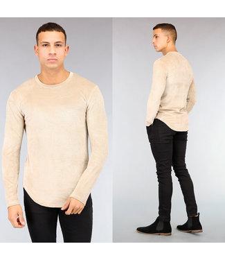 NEW! Beige Velvet Rib Heren Shirt
