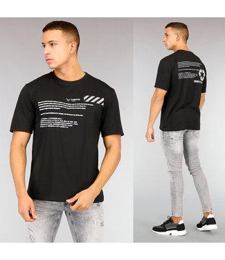 Zwart Oversized Heren T-Shirt met Witte Tekst