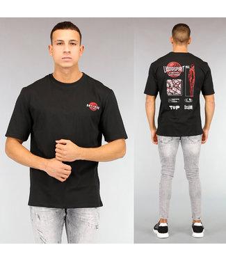 Zwart Oversized Heren T-Shirt met Rode Opdruk