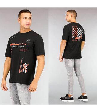Zwart Heren T-Shirt met Bedrukking