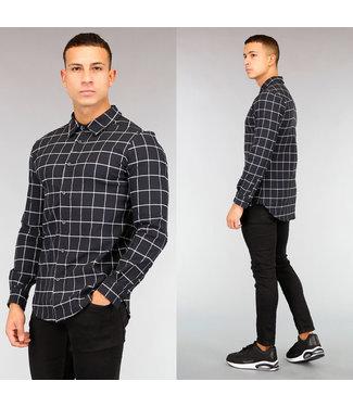 NEW! Zwart/Wit Geruit Heren Overhemd