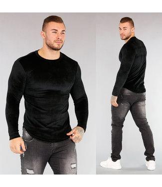 NEW! Zwart Velvet Rib Heren Shirt