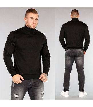 NEW! Zwarte Suède-Look Heren Sweater met Col