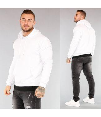 NEW! Witte Heren Hoodie met Shirt Detail