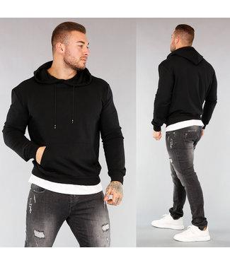NEW! Zwarte Heren Hoodie met Shirt Detail