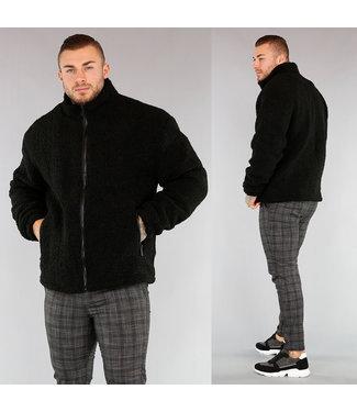 NEW! Oversized Zwarte Heren Teddy Jas