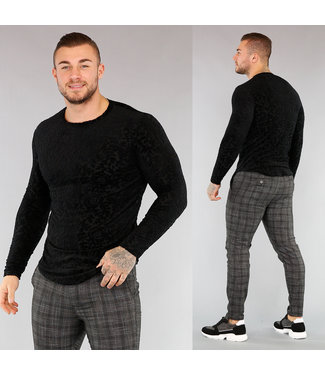 !SALE40 Zwart Heren Shirt met Velvet Print