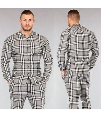 NEW! Grijs Geruit Heren Overhemd
