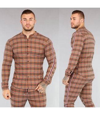 NEW! Bruin Geruit Heren Overhemd
