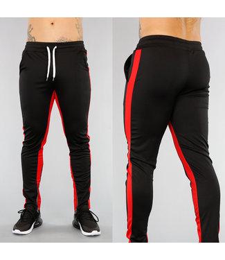 . Zwarte Heren Joggingbroek met Rode Strepen